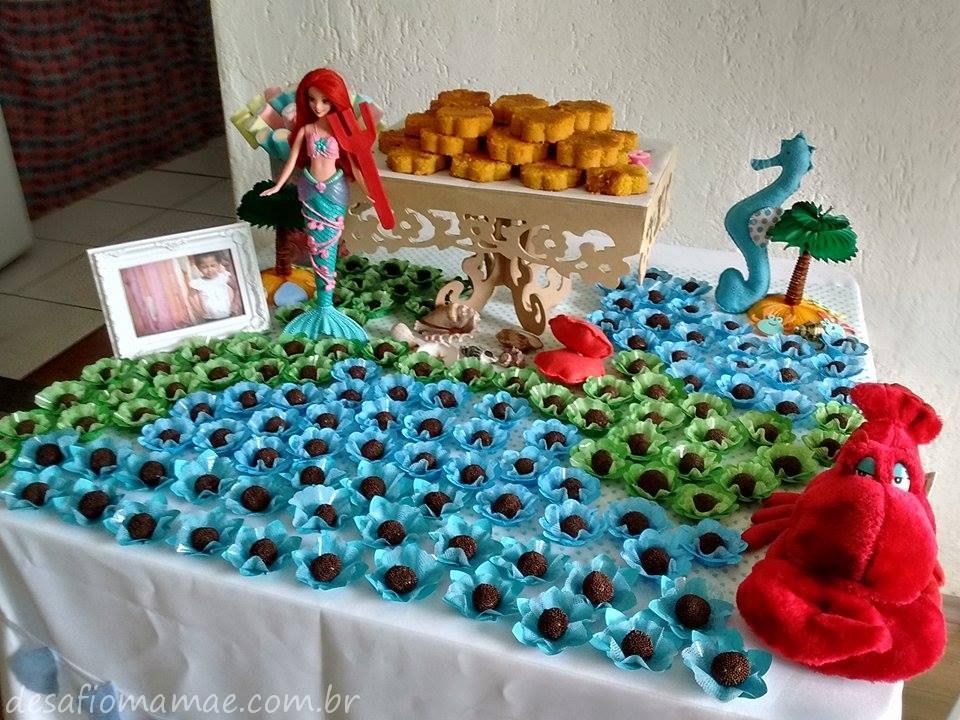 Tema Sereia Ariel com decoração em feltro